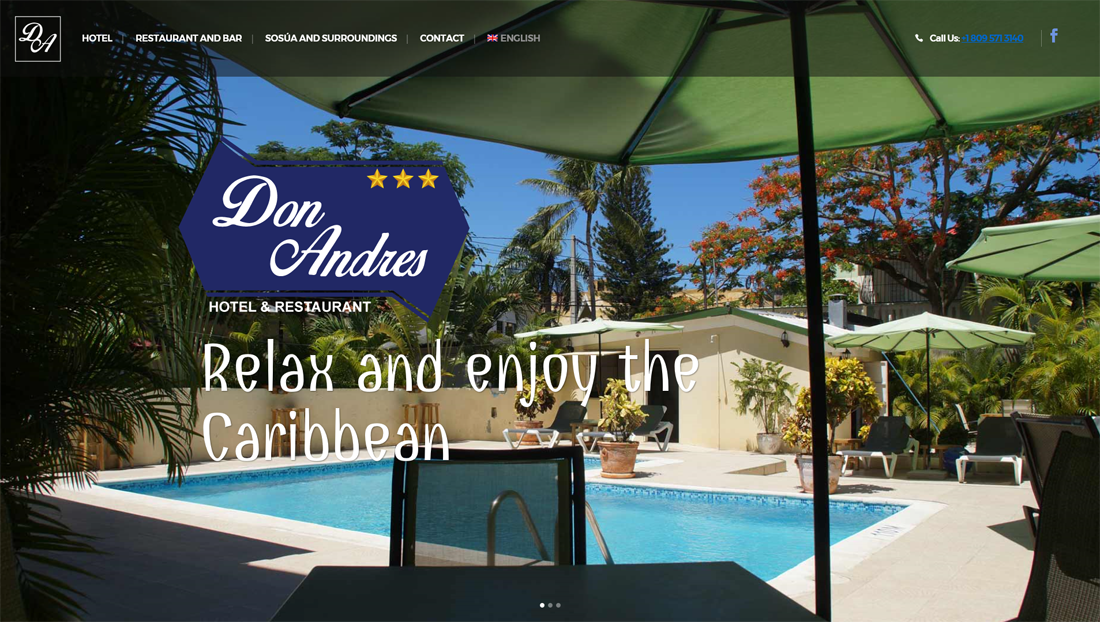wordpress website Hotel Don andres Dominicaanse republiek