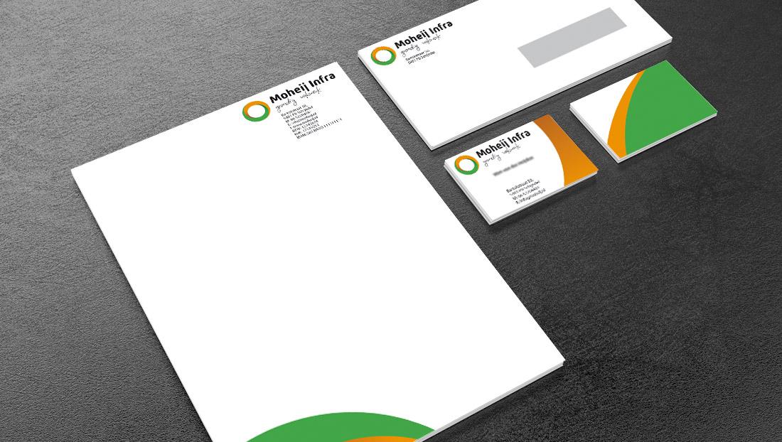 briefpapier, visitekaartjes en enveloppen van Moheij