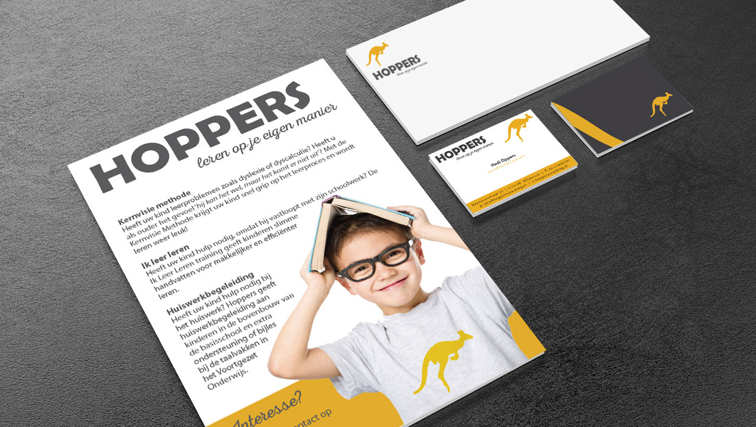 Logoontwerp en drukwerk Hoppers coaching hilversum