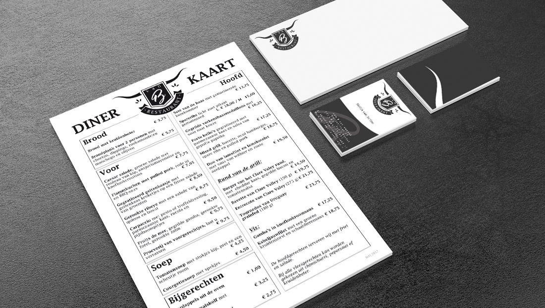 menukaarten en drukwerk restaurant van B Aarle Rixtel